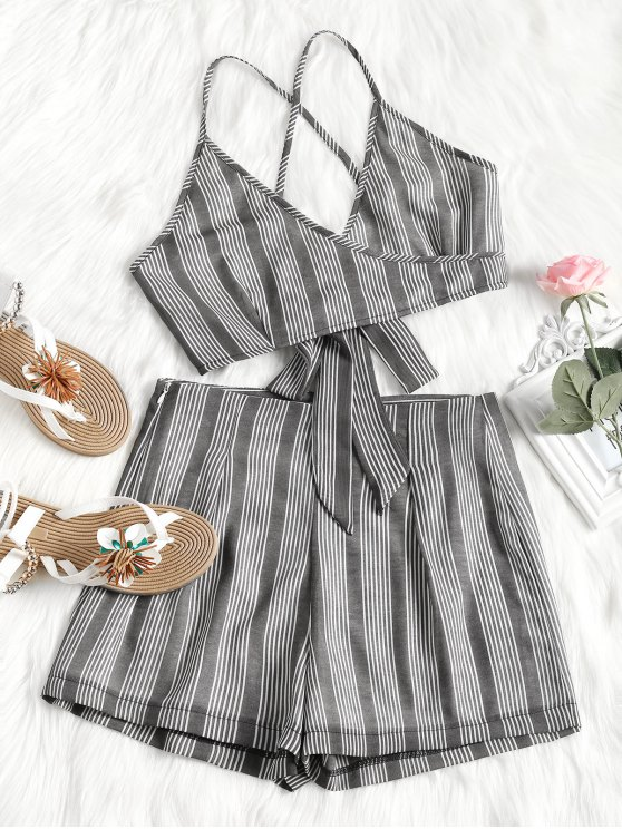 new Criss Cross Stripes Top and High Waisted Shorts Set - DEEP GRAY S