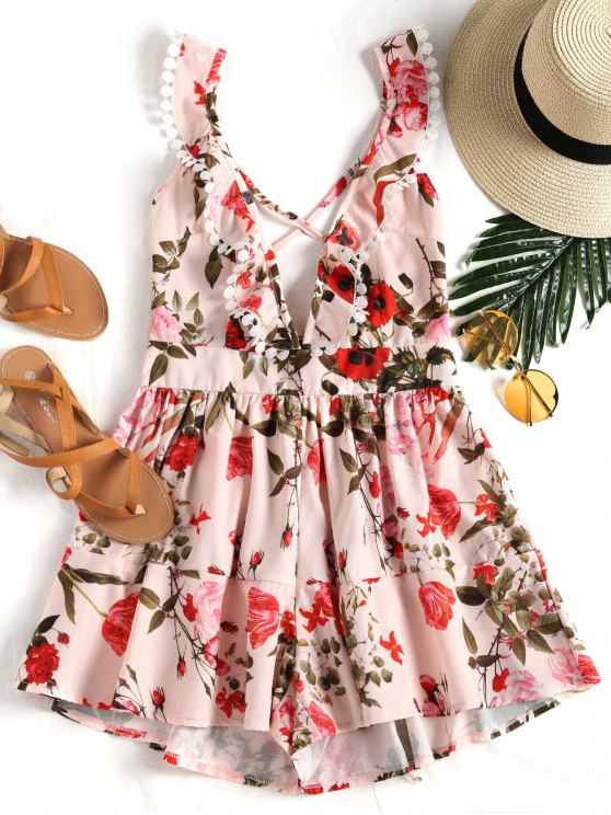 new Floral Print Backless Plunge Romper - PINK S