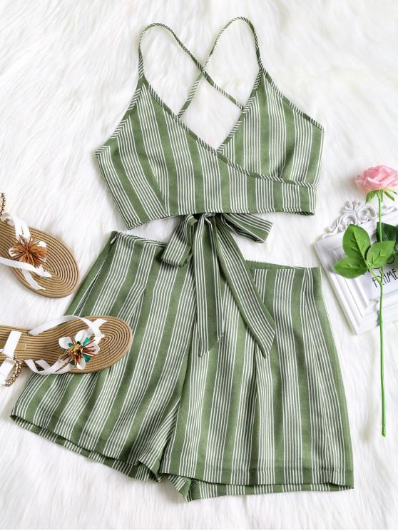 affordable Criss Cross Stripes Top and High Waisted Shorts Set - GREEN S