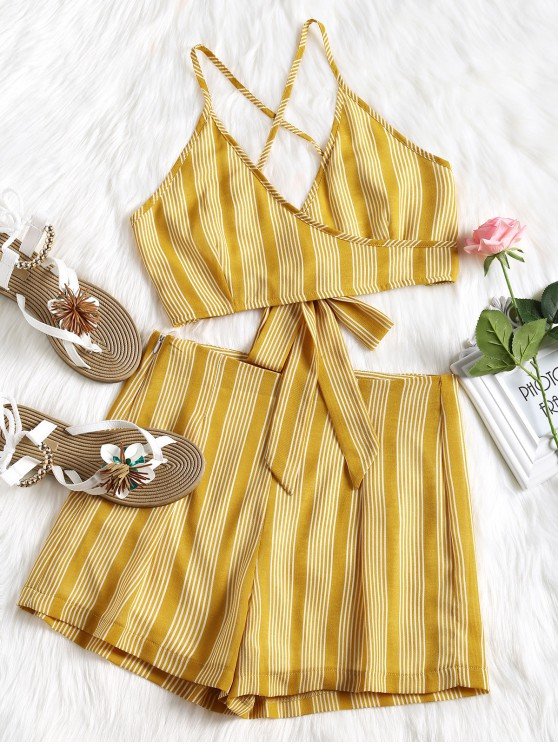affordable Criss Cross Stripes Top and High Waisted Shorts Set - MUSTARD L