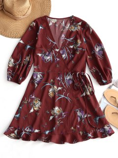 Floral Print Mini Wrap Tie Dress - Wine Red L