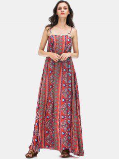 Vacation Floral Print Maxi Slip Dress - Red L
