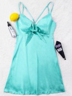 Satin Strappy Mini Party Dress - Green L
