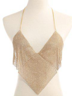 Rhinestone Triangle Halter Bra Chain - Golden