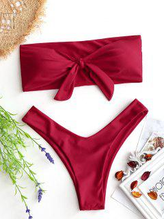 Bow Tied Bandeau Swim Bra With High Cut Bottoms - Red S