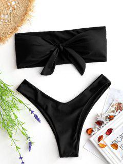 Bow Tied Bandeau Swim Bra With High Cut Bottoms - Black S