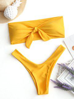 Bow Tied Bandeau Swim Bra With High Cut Bottoms - Yellow S