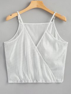 Crossover Shiny Tank Top - Silver M