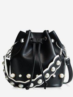 String Casual Bucket Bag - Black