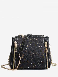 Shimmering Chain Crossbody Bag - Black
