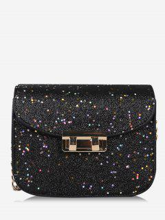 Chain Chic Sequins Crossbody Bag - Black