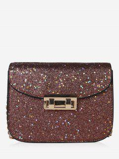 Chain Chic Sequins Crossbody Bag - Brown