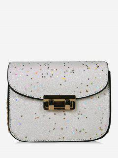 Chain Chic Sequins Crossbody Bag - White