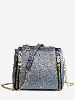 Shimmering Chain Crossbody Bag - Silver