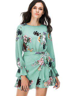 Floral Print Long Sleeve Mini Dress - Green M