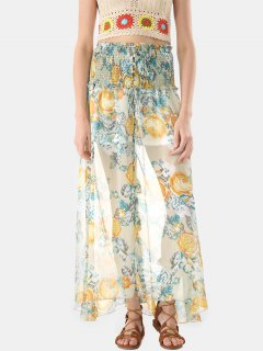 Button Through Smocked Chiffon Long Skirt - Multicolor S