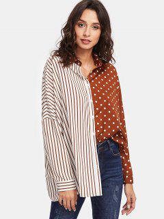 Dot Stripe Contrast Print Oversized Shirt - Brown And White L