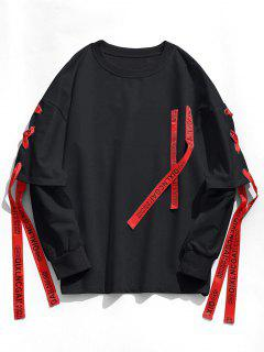 Ribbon Lace-up Sweatshirt - Black 2xl