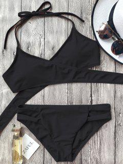 Cutout Halter Wrap Bikini Set - Black S