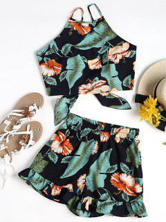 Floral Cami Crop Top With Shorts Set - Black And Green L