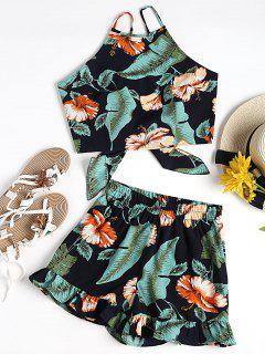 Crop Top Fleuri Avec Short - Noir Et Vert S