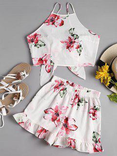 Blumen Cami Crop Top Mit Shorts Set - Weiß L