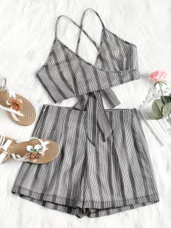 Criss Cross Stripes Top And High Waisted Shorts Set - Deep Gray L