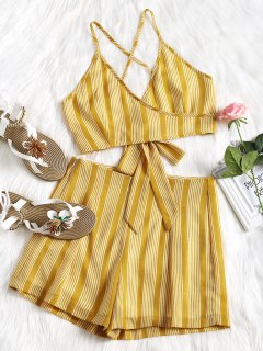 Criss Cross Stripes Top And High Waisted Shorts Set - Mustard M