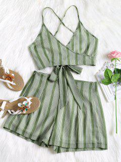 Criss Cross Stripes Top And High Waisted Shorts Set - Green M