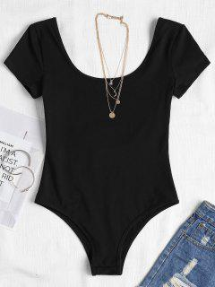 Open Back Bodysuit With Short Sleeves - Black M