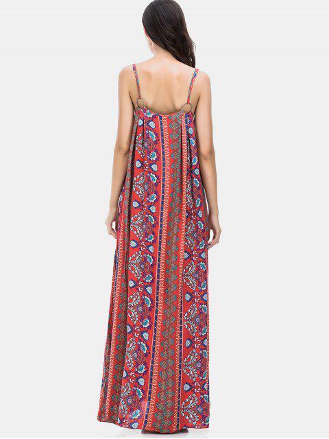 Vestido largo con estampado floral y estampado floral de vacaciones - Rojo S Mobile