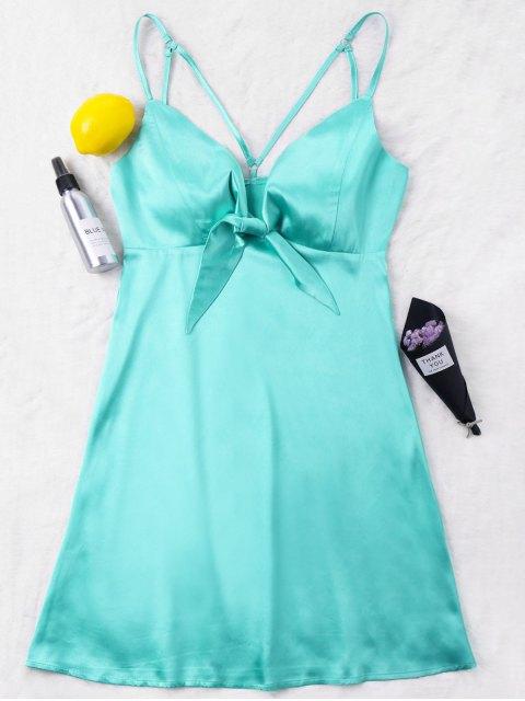 online Satin Strappy Mini Party Dress - GREEN XL Mobile