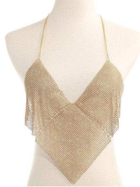 buy Rhinestone Triangle Halter Bra Chain - GOLDEN  Mobile