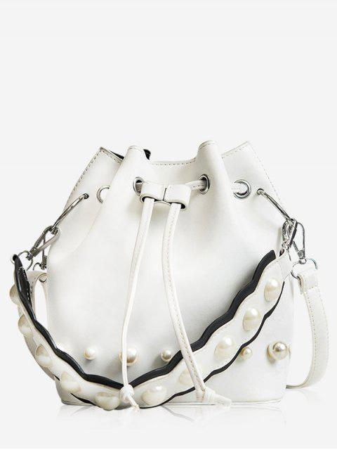 fashion String Casual Bucket Bag - WHITE  Mobile