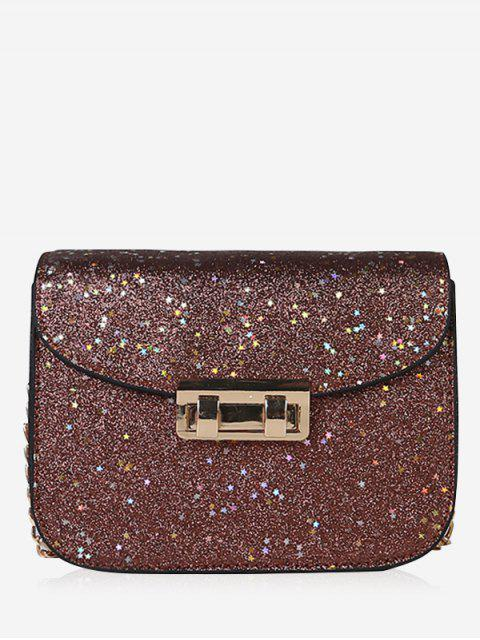 buy Chain Chic Sequins Crossbody Bag - BROWN  Mobile