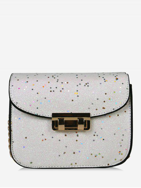 womens Chain Chic Sequins Crossbody Bag - WHITE  Mobile