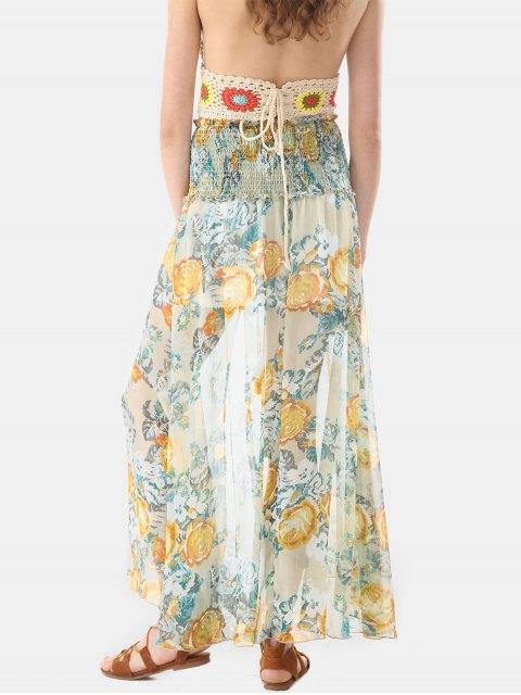 Botón a través de falda larga de gasa smocked - Multicolor L Mobile