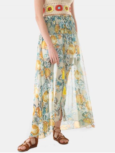 womens Button Through Smocked Chiffon Long Skirt - MULTICOLOR XL Mobile