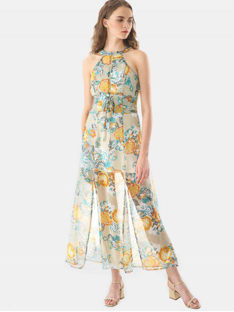 fancy Floral Print Vacation Chiffon Dress - MULTICOLOR L Mobile