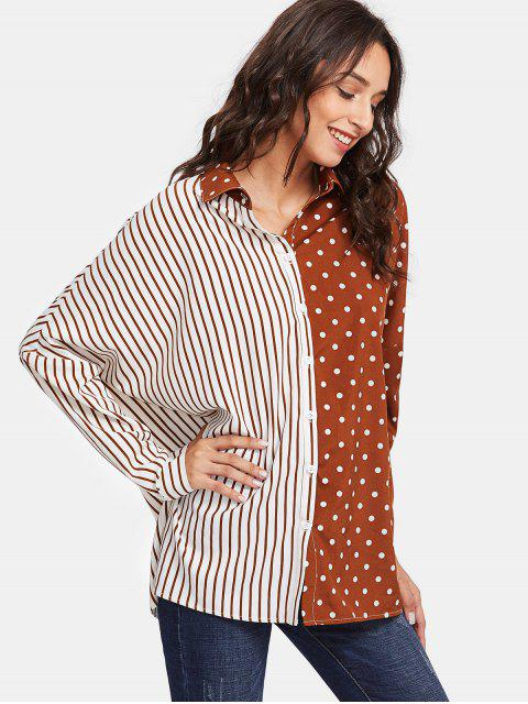 unique Dot Stripe Contrast Print Oversized Shirt - BROWN AND WHITE L Mobile