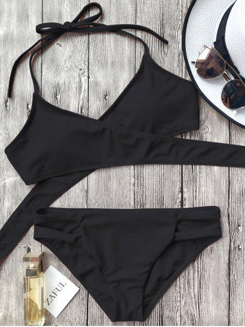 ladies Cutout Halter Wrap Bikini Set - BLACK S Mobile