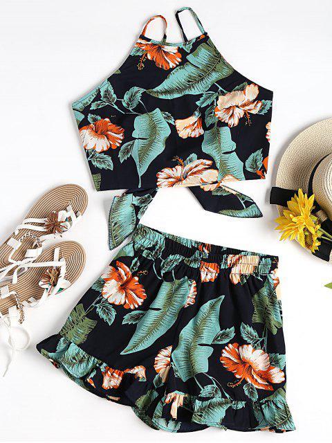 Top corto floral con pantalón corto de Cami - Negro y verde S Mobile