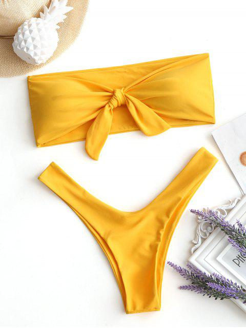 Schleife hoch geschnitten Bandeau Bikini - Gelb S Mobile