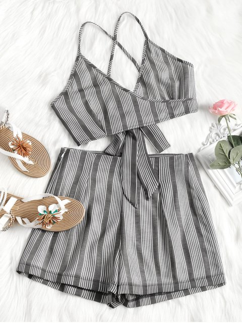 lady Criss Cross Stripes Top and High Waisted Shorts Set - DEEP GRAY M Mobile