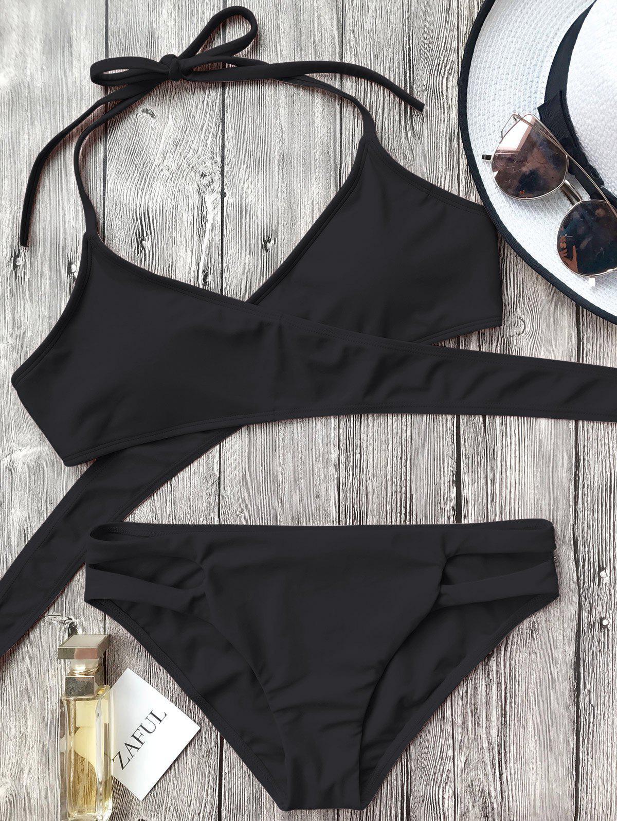 Cutout Halter Wrap Bikini Set thumbnail