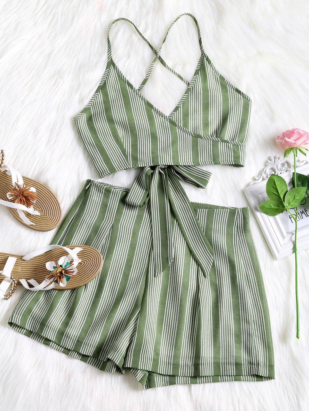 Criss Cross Stripes Top and High Waisted Shorts Set