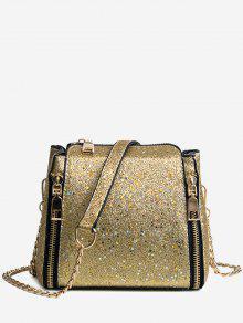 متلألئ سلسلة حقيبة كروسبودي - ذهبي