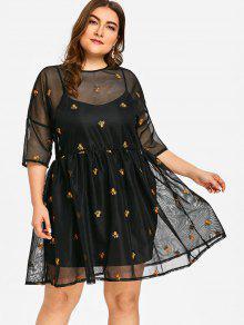 فستان ذو مقاس كبير بشبك مزين بتطريز أزهار - أسود Xl