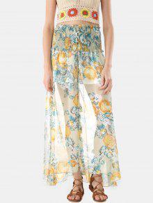 زر من خلال تنورة طويلة الشيفون Smocked - متعدد الألوان Xl