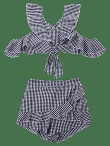 Guinga Blanco Y Acampanada Volantes Falda Con Falda Corta Negro Conjunto De L ZwqBT8T1